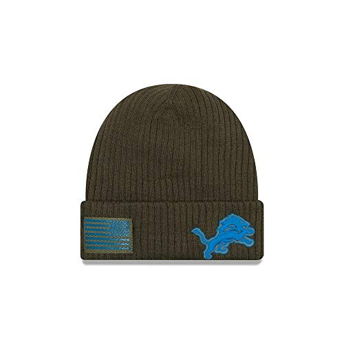 New Era Embroidered Beanie - New Era 2018 Mens Salute to Service Knit Hat (Detroit Lions)