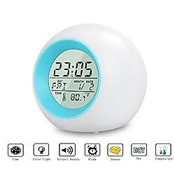 Kids Alarm Clock,Digital Alarm Clock with Cool Natural Sounds Color Changing Mood Light Time Calendar Week Temperature Display Snooze (7 colors)
