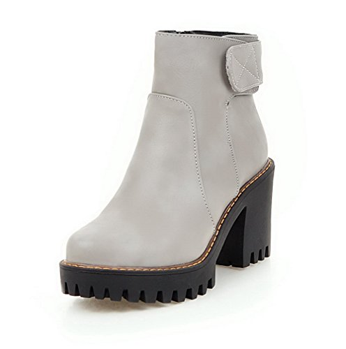 AllhqFashion Womens Solid PU High-Heels Zipper Round Closed Toe Boots with Metal Gray BhiLL