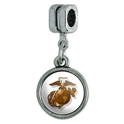 Marines USMC Golden Logo on White Eagle Globe Anchor Officially Licensed Italian European Style Bracelet Charm Bead Eagle Italian Charm Bracelet