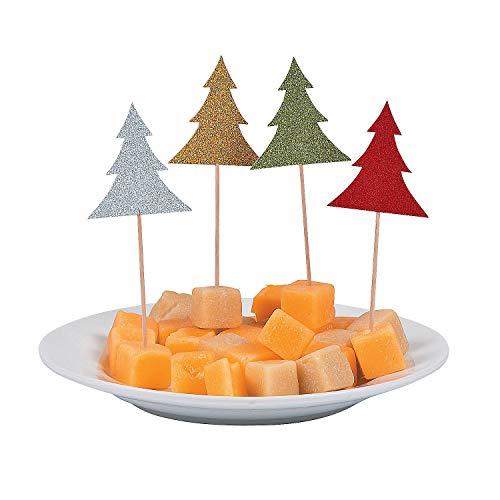 Fun Express - Christmas Glitter Tree Picks for Christmas - Party Supplies - Serveware & Barware - Picks & Stirrers & Parasols - Christmas - 24 Pieces -