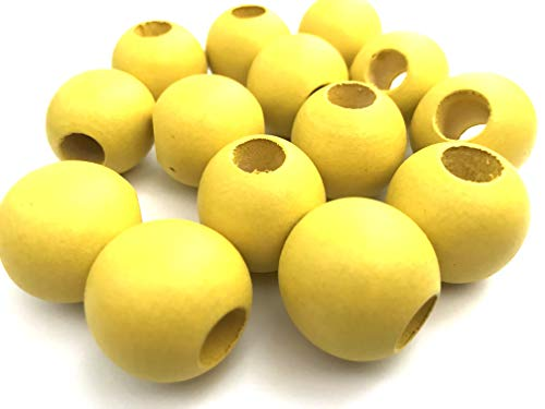 (20 pcs Yellow Macrame Wood Beads Round 25mm Bead Jewelry Macrame Wooden Tool )