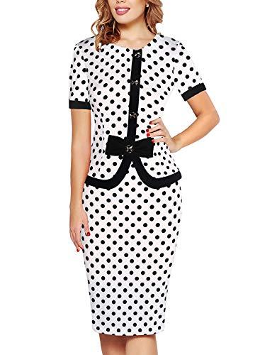 Bow Dress Sheath Front - Fantaist Work Dress,Vintage Polka Dot Sheath Women Office Dresses with Bow Knee Length (S, FT636-White Dot)