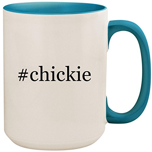 #chickie - 15oz Ceramic Colored Inside and Handle Coffee Mug Cup, Light Blue