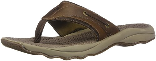 (Sperry Top-Sider Men's Outer Banks Thong Flat Sandal, Brown, 14 D(M) US)