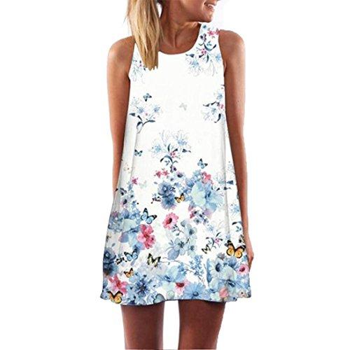 Womens Casual Sleeveless Dress, Summer Vintage Boho Print Mini Dress O Neck Short Sundress for Beach (XL, Blue)
