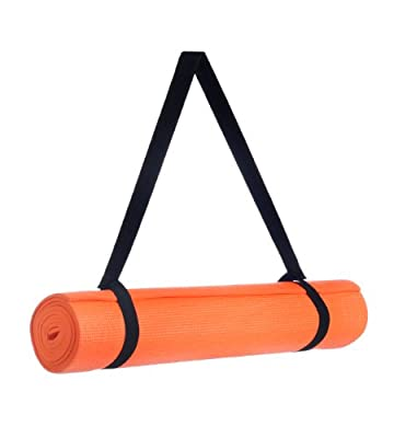 "Yoga Mat with Carrying Sling Eco Friendly Yoga Mat With Extra Thickness Mat for Pilates, Exercises, Aerobics, Yoga 72"" x 24"" x 1/4"", Orange by BAGS FOR LESSTM"
