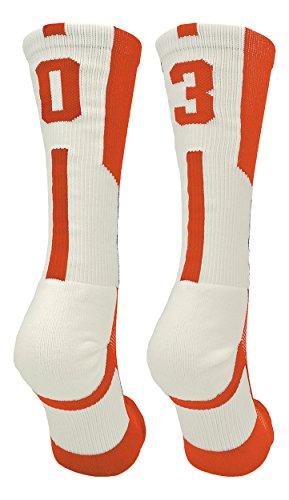 TCK Player Id Orange/White Custom Number Crew Socks (Pair)