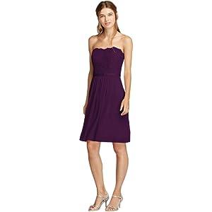 Davids Bridal Short Scalloped Strapless Lace Mesh Bridesmaid Dress Style F18094