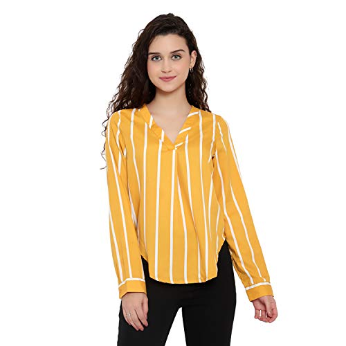 Casual Full Sleeve Striped Women Yellow Top