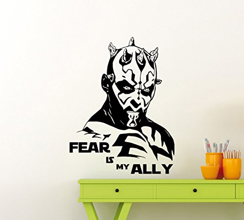 Darth Maul Wall Decals Star Wars Poster Fear Is My Ally Quote Vinyl Sticker Home Teen Star Wars Characters Galaxy Devil Sith Lord Kids Room Nursery Art Decor Stencil Mural -