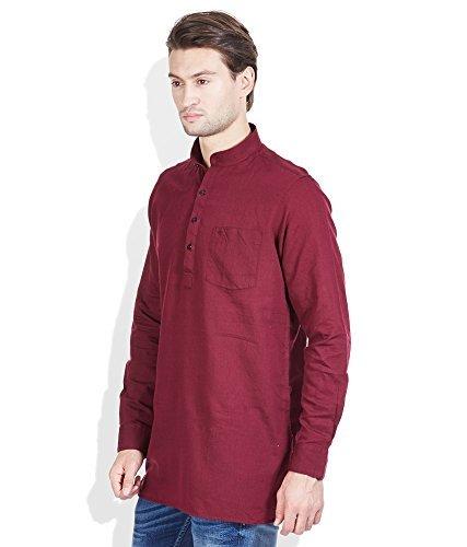 Royal Kurta Men's Summer Wear Fine Cotton Blended Straight Kurta 44 Red