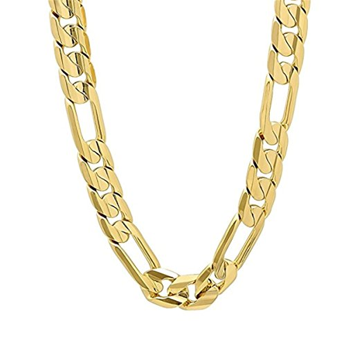 - LSDMY Mens 14k Gold Plated 8mm Italian Figaro Link Chain Necklace 24 INCH