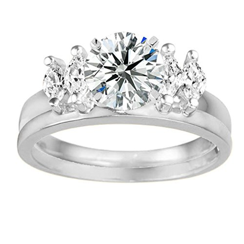 sterling silver graduated marquise solitaire enhancer ring
