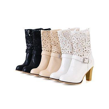 Botas de Mujer Otoño Invierno Comfort polipiel vestido Chunky talón Bowknot caminando White