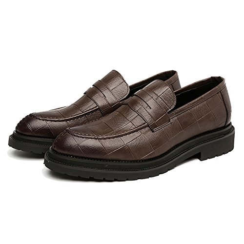Xiaojuan Outsole Pelle Dimensione slip PU Texture shoes 38 Uomo da da Scarpe lavoro in Color EU Marrone Mocassini Oxfords Square pelle Classic uomo on Scarpe Nero rHrnZqFwC