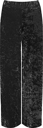WearAll Women's Plus Velour Velvet Wide Flared Leg Pocket Palazzo Pants - Grey - US 12-14 (UK 16-18) ()