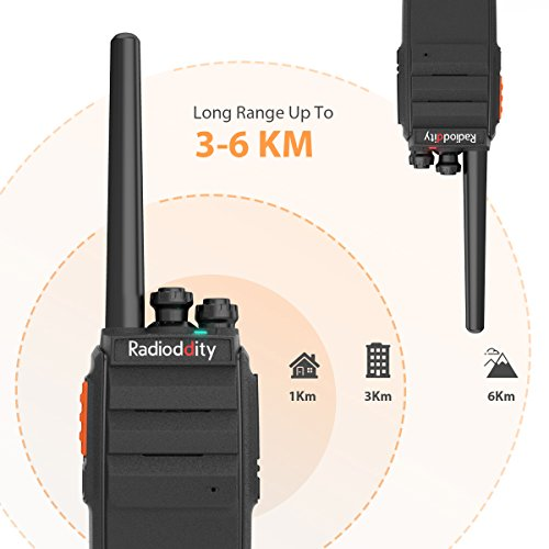 Radioddity R2 Advanced Two Way Radio UHF 400-470MHz 16 CH Scrambler VOX Rechargeable Long Range Standby time Walkie Talkies with USB Desktop Charger + Earpiece (Pack of 2) by Radioddity (Image #3)