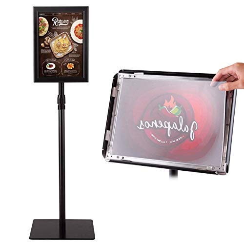 Golflame A3 Pedestal Poster Stand Adjustable Aluminum Holder Poster Stand for Display Heavy Square Steel Base Snap-in Frame Sign Holder with Telescoping Post (Black, 8