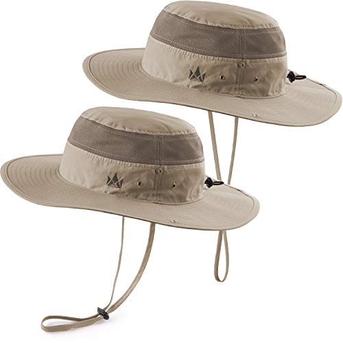 (The Friendly Swede Sun Hats 2-Pack - Safari Hat for Men Women and Children, Boonie Hat, Camping Hat, Fishing Hat, Summer Hat, Gardening Hat (Khaki))