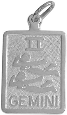 14 Karat White Gold Gemini Zodiac Pendant with Chain
