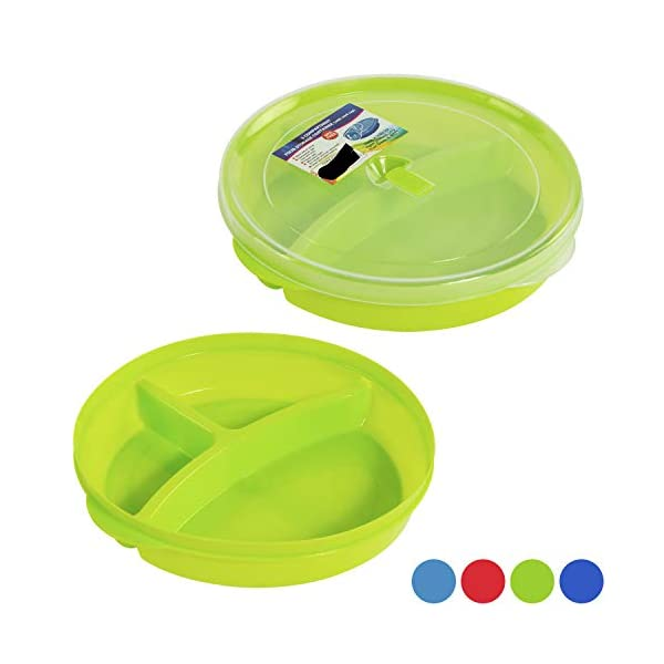 (Set of 6) Microwave Food Storage Tray Containers – 3 Section / Compartment Divided Plates w/ Vented Lid 41 2Blr8JL 2BwL