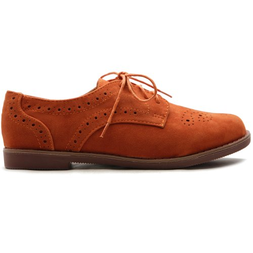 Heel Shoe Low Orange Women's Ollio Casual Tip Dress Oxford Wing Up Lace xxFwqOgzf