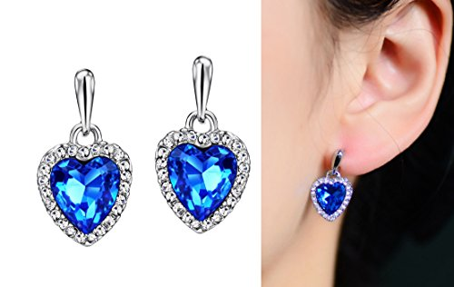 Ananth Jewels Swarovski Ocean Blue Crystal Platinum Plated Heart Shaped Earrings for Women