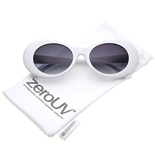 f8d22a0f703 zeroUV - Bold Retro Oval Mod Thick Frame Sunglasses Clout Goggles with Round  Gradient Lens 51mm (White   Lavender) - Buy Online in UAE.