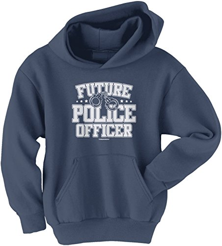 Threadrock Big Boys' Future Police Officer Youth Hoodie Sweatshirt S Navy