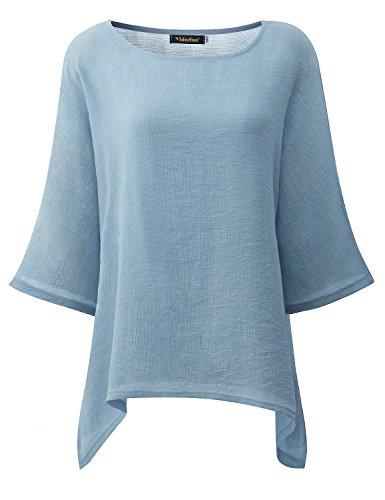 Yidarton Casual Loose Baggy Shirts Batwing Sleeve Tops Tunic Top for Women Blue S (Blue Linen Blouse)