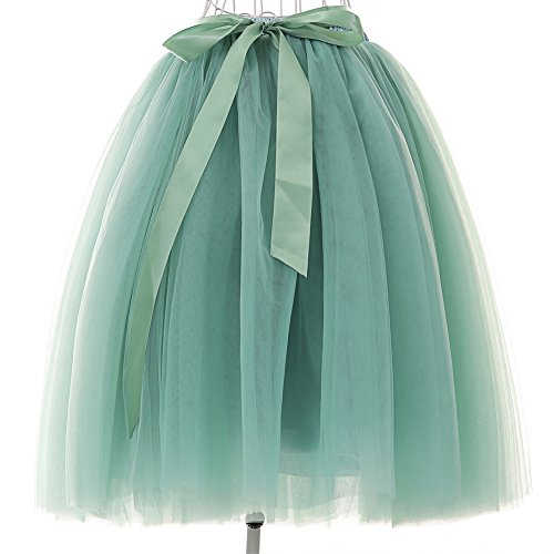 Women's High Waist Princess A Line Midi/ Knee Length Tulle Skirt Pleated for Prom Party (free size, Green)