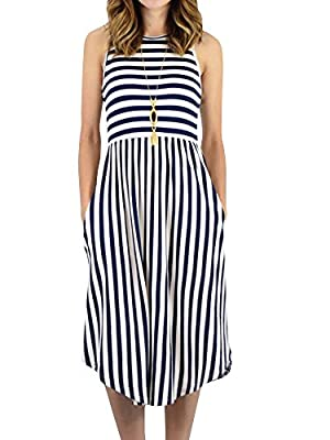 Foshow Womens Tank Dress Striped Midi Sleeveless Casual Summer Beach Dresses with Pockets