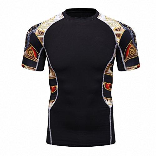 Fanii Quare Men's Lightweight Short Sleeve Cool Dry Rashguards Compression Sports Workout T-Shirt Black 25 XL