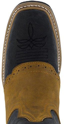 Saddle Honey Tone Two Cowboy Men's Black Legacy Overlay Texas Black Rustic Boots 4Y8nTxFBqw