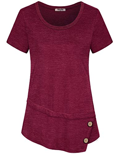 Hibelle Red Tunic Tops for Women, Work Casual Summer Clothing Short Sleeve Crewneck Unique Designed Blouse Buttons Irregular Hem Soft Perfect Tee Shirts Maroon Wine Large ()