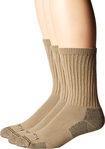 Carhartt Men's Cotton Crew Work Socks 3-Pack Khaki X-Large