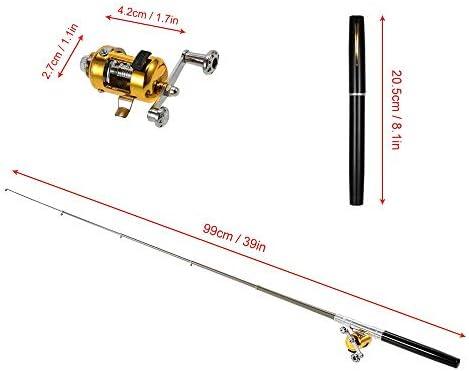 Happyoutdoor Pen Fishing Pole 39 Inch Mini Pocket Fishing Rod And Reel Combos Travel Fishing Rod Set Pocket Fishing Rod Pole Reel Aluminum Alloy