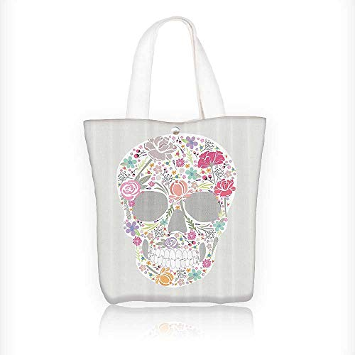 canvas tote bag Skull From Flowers and Gothic Holi Traditi Brainpan All Souls reusable canvas bag bulk for grocery,shopping W16.5xH14xD7 INCH