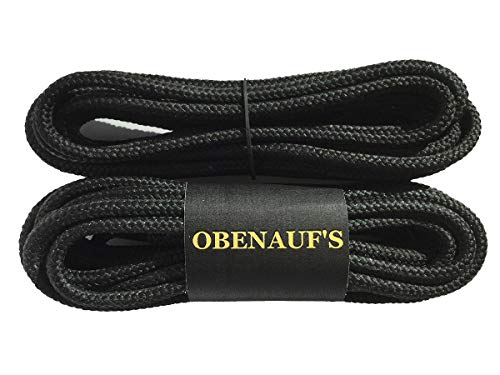 Obenaufs Boot Laces Industrial Strength Nylon Black Waxed Round 1 Pair
