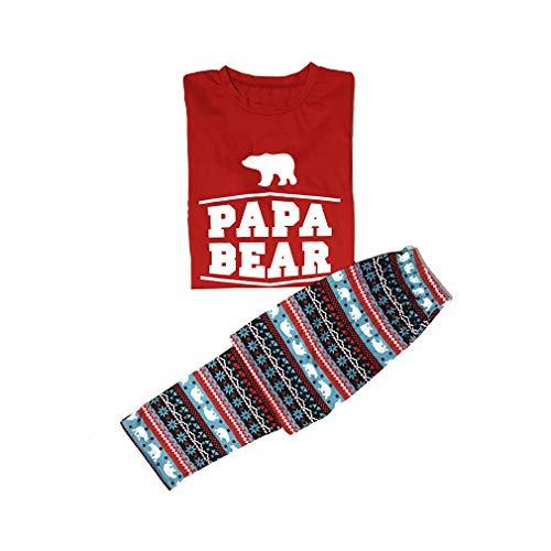 Pap Abbigliamento famiglia Junkai Bambini Pigiama notte Pigiami e Imposta Padre Pigiama la Bear natalizio 2 per per pezzi Happy da abbinamenti Stampato Madre YpxPCwBqx