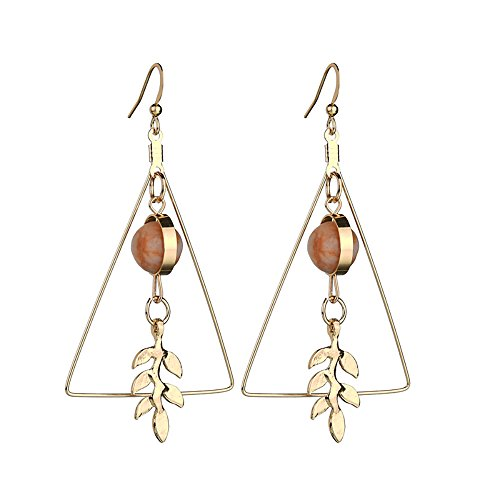 Charm Vintage Hollow Out Triangle Hook Earring Marble 3D Round Beads Leaf Earrings For Woman Girls Jewelry