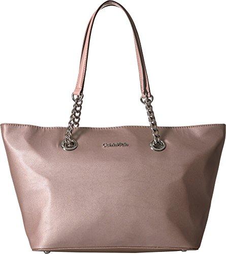Calvin Klein Key Item Nylon Floral Print Chain Tote Tote Bag, ROSE GOLD, One Size