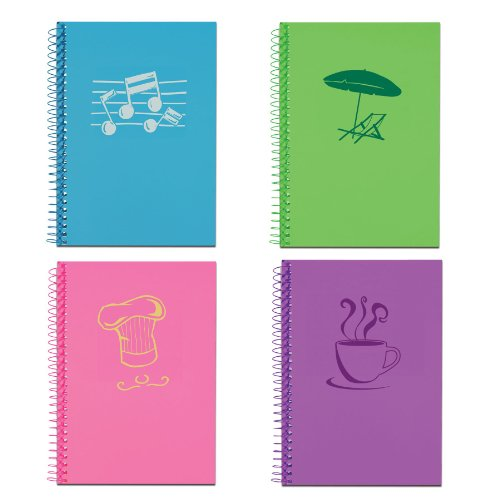 Roaring Spring Paper Products Life Notes Notebook, One Subject, 7 x 5 Inches, 80 Sheets, College Ruled, Assorted Lifenotes Covers (12531), Pack of 4 Books