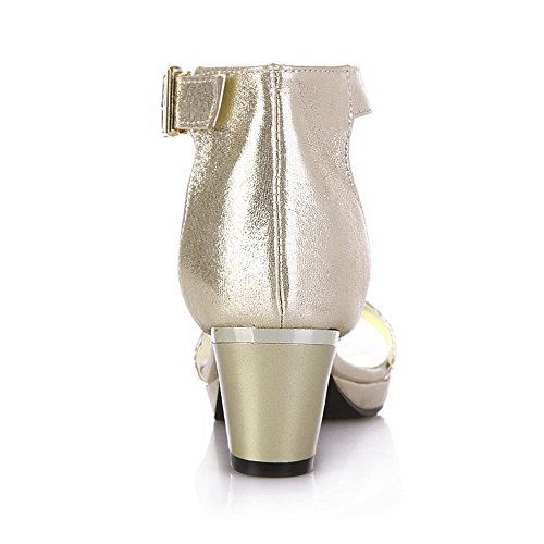 Kitten Material Toe with Open Strap Sandals Gold Buckle Heels Solid Soft Women's Wrist VogueZone009 gtpYqwE