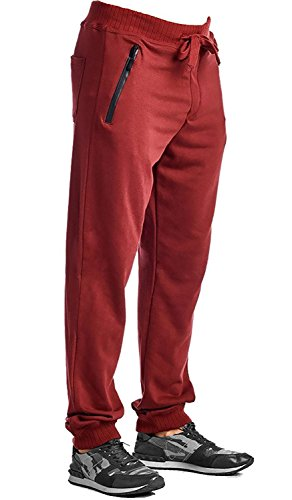Indigo People Men's Vertical Zipper Jogger Sweat Pants-Burgundy-Medium