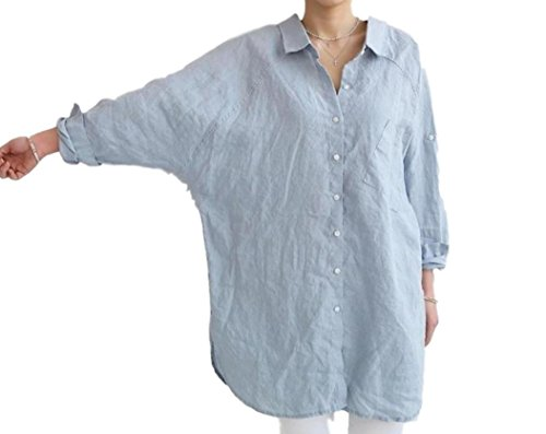 ten is heart) Long Shirt Women Loose Size Tunic Blouse Long Sleeve Relax Simple (Small, Sax) Kids Travel Large Petite Party Work Sexy v Neck Tank top Vintage Style up Plaid Oxford Sports Sun uv prote