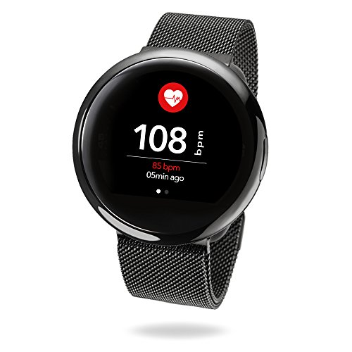 MyKronoz ZeRound2 HR Elite Smartwatch with Heart Rate Monitoring - Black/Milanese Black Band by MyKronoz