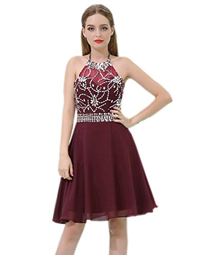 5541807fae78 Belle House Short Homecoming Dresses for Juniors 2018 Halter Top Chiffon Prom  Dress Ball Gown