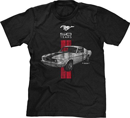 Mustang Black Shirt (Blittzen Mens T-shirt Mustang 50 Years Red White, Medium, Black)